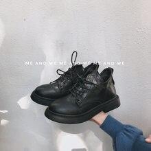 8debc62f0 Женские ботинки martin, новинка 2019 года, зимние ботинки на шнуровке в  Корейском стиле с круглым носком, модная обувь на толсто.