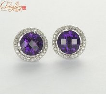 5.09ct Natural Amethyst & Diamond Solid 14kt Gold Earrings Jackets & Studs