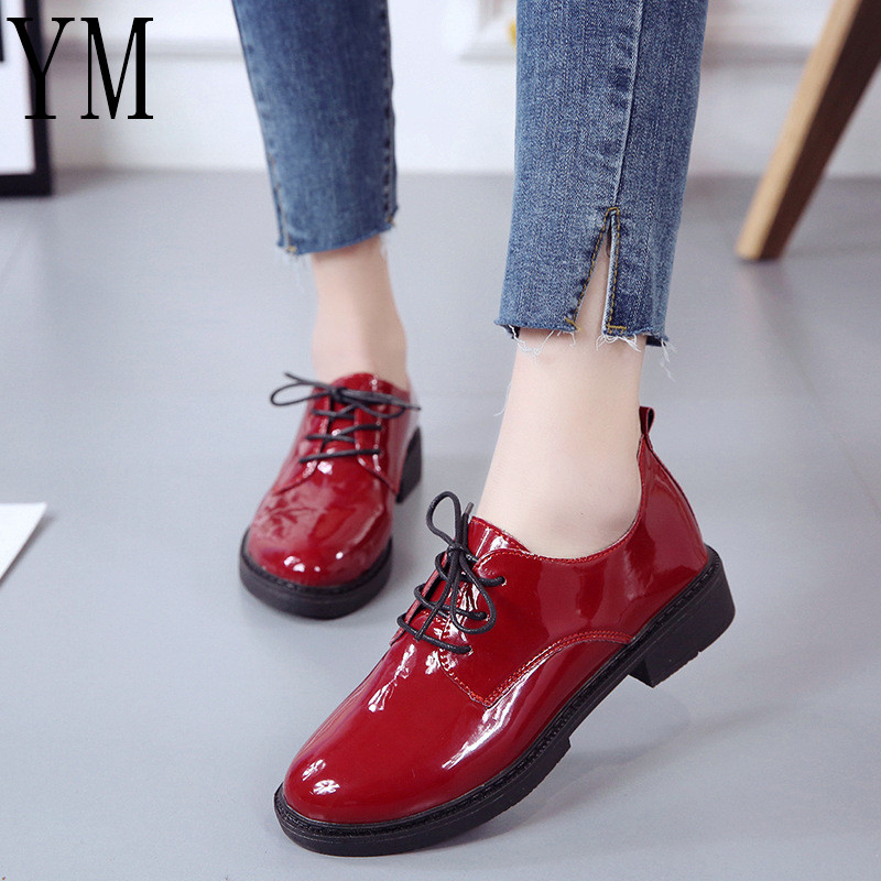 New 2018 Autumn Shoes Hot Women Casual Lace-up Red Oxford Shoes Women Flats Comfortable Slip on Women Shoes Mujer Plus size35-40 цена