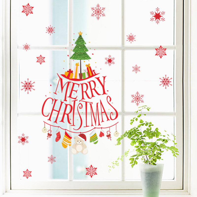 Merry Christmas Tree Snowflake Gift Wall Stickers For Kids Rooms Shop Store Window Decor New Year Wall Decals Posters Mural Art