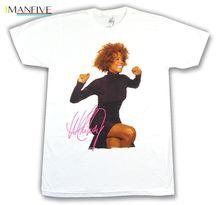 Whitney Houston Smile Pic Photo Image White T Shirt New Official Merch Streetwear harajuku Print Cotton funny t shirts men цена 2017
