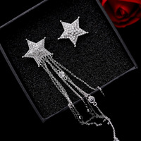High Quality Brand Personality Asymmetrical Five Pointed Star Long Style Tassel Earrings Korean Star S925 Silver