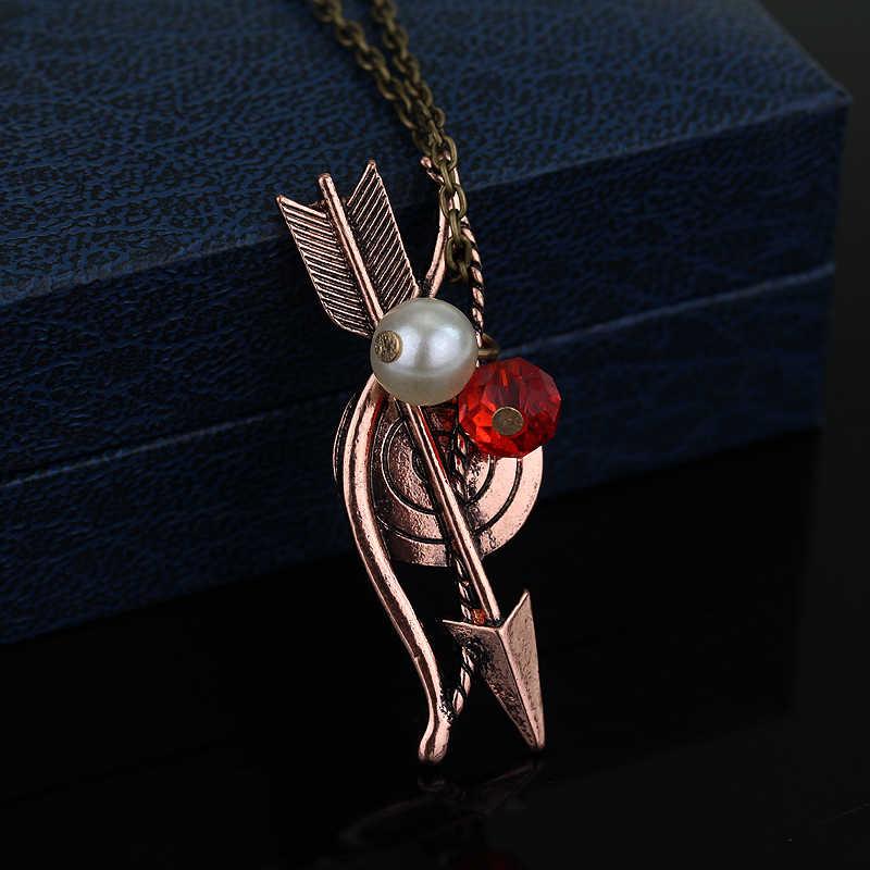 Collar de lobo adolescente dongsheng arco flecha arquería arquero colgante joyería de cristales para collar para mujeres accesorios de cadena de sudor