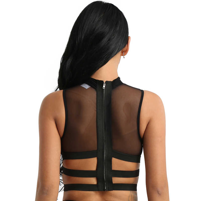 Fashion Womens Sexy Clubwear Tanks Tops Mouwloos Sheer Mesh See-through Zipper Terug Elastische Strappy Criss Cross Tees Crop top