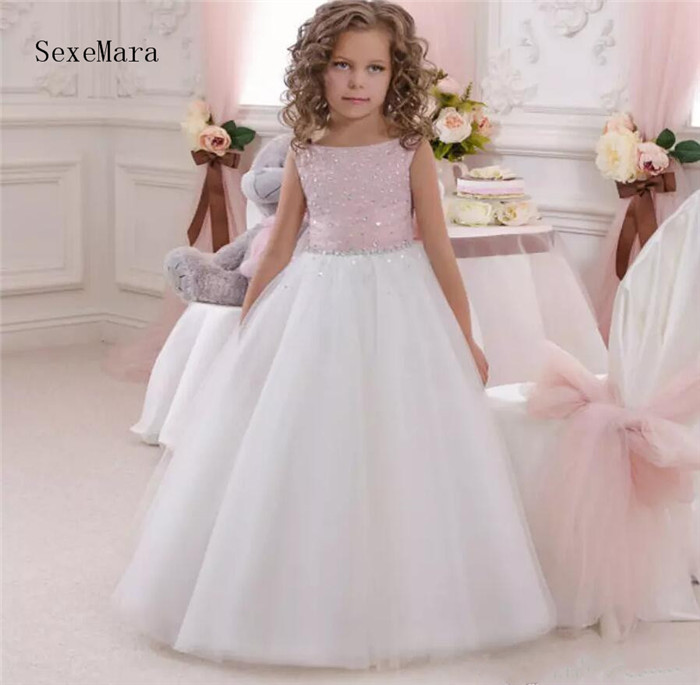 Pink Flower Girl Dresses Scoop Neck Sleeveless Floor Length Tulle knitted Kids Wedding Party Robe De Soiree pink scoop neck heart