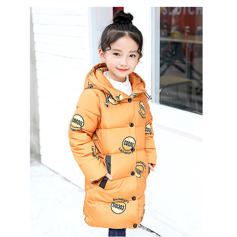 BuDingXiong 2018 Kids Girls Prints Hooded Cotton Parkas Winter Warm Long Jacket Fashion Girls Outerwear & Coats Children Clothes children winter coats jacket baby boys warm outerwear thickening outdoors kids snow proof coat parkas cotton padded clothes