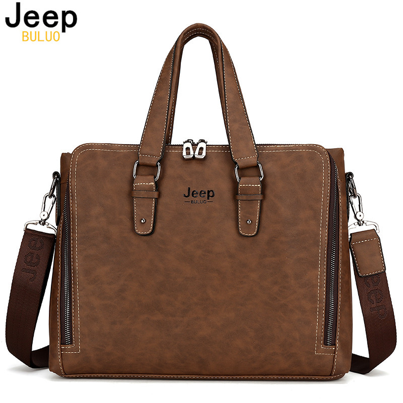 JEEP BULUO Fashion Vintga Men Nubuck Leather Bag Famous Brand Shoulder Messenger Bags Causal Handbag Laptop Briefcase Male 8022