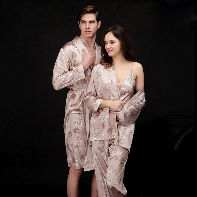Couple Silk Print Autumn Spring Pajamas Set Women Men Sexy Sleeveless Strap Nightwear Long Pant Robe Sleepwear JS740