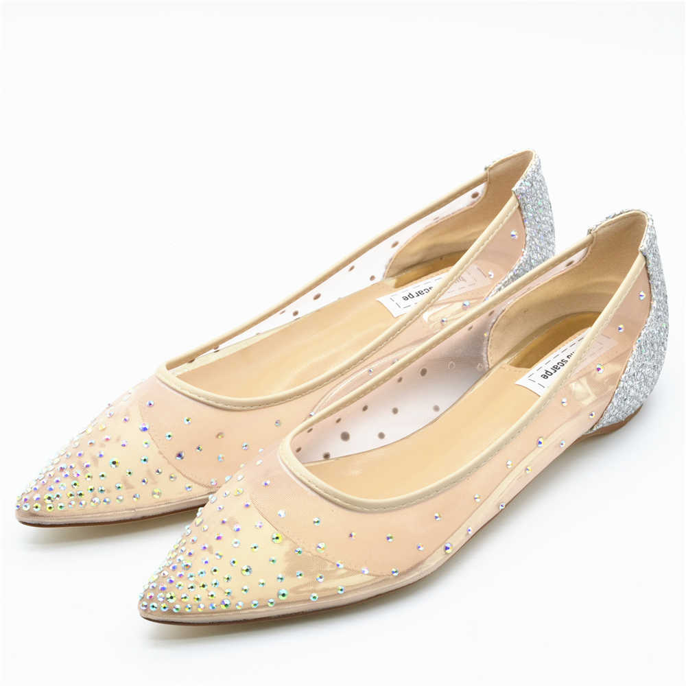 Silver Flats For Wedding.Buonoscarpe Women Pointed Toe Flats Crystal Bling Fashion Silver Shoes Flat Luxury See Through Party Wedding Shoes Strass Flats