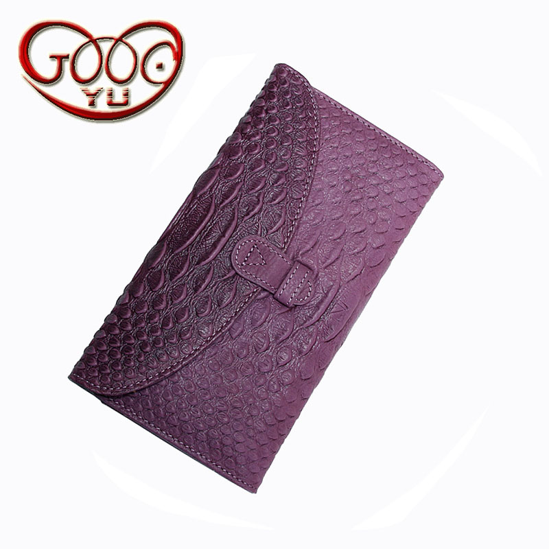 Korean version of the leather crocodile pattern ladies long wallet leather snake pattern pumping multi-card bit money bills wall