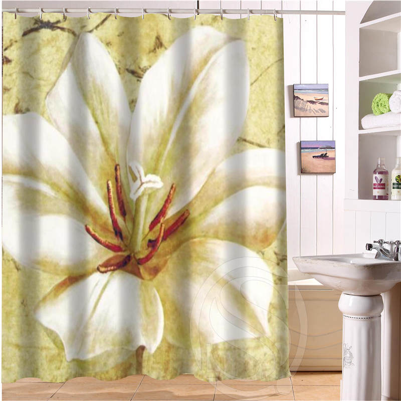 Beautiful flowers Personalized Custom Shower Curtain Bath Curtain Waterproof Polyester F ...