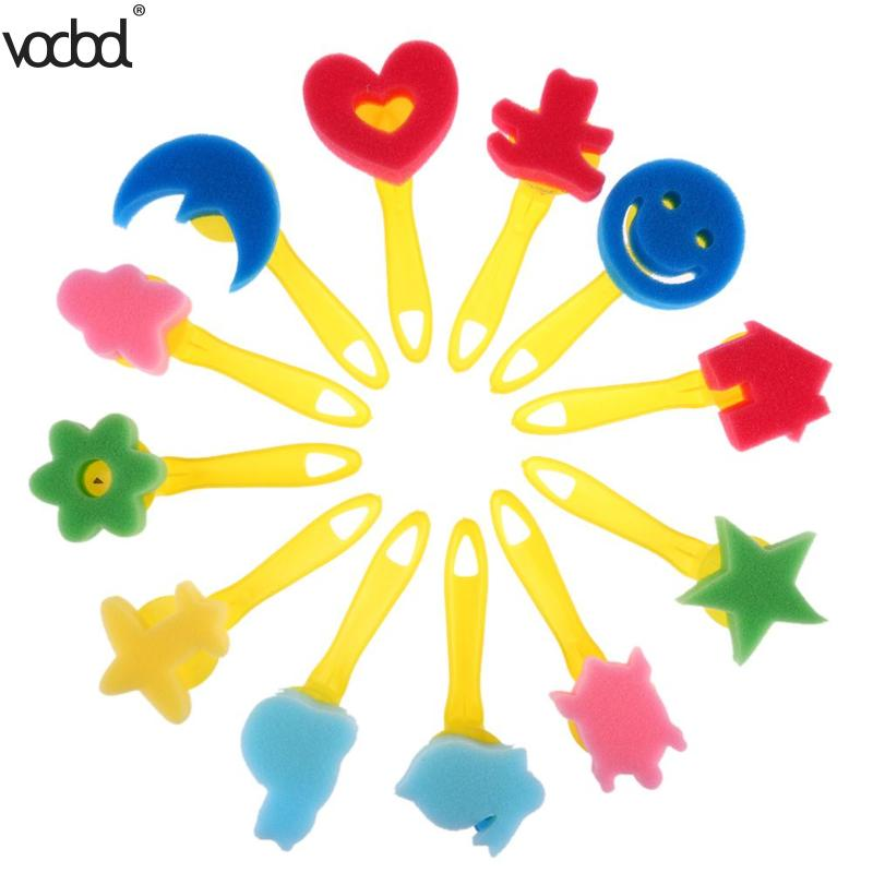 12pcs/set Kids Paint Brush Mixed Pattern Colored Child Sponge Art Graffiti Drawing Toy Tool Plastic Handle Brushes School Supply