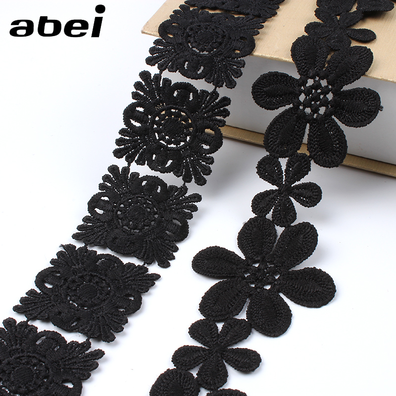 2yards/lot Embroidered Black Lace Trims Water Soluble Flower Ribbon LACE Fabric Appliques DIY Sewing Garments Accessories