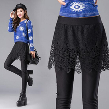 NEW Winter Thickening Women's Skirt Pants with Lace Skirt Ladies Mini Skirt Leggings Casual Style Female Pencil Cotton Pants
