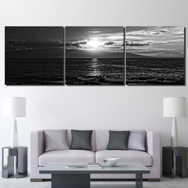 3 panel hd printed framed seascape sunset black white modern home wall decor painting canvas art