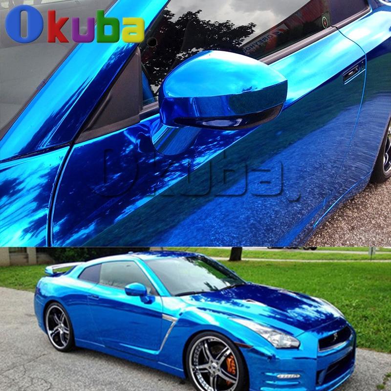 Stretched Mirrors Chrome Vinyl Wrap Auto Sheets with Air Bubble Free Car Cover Chrome Fiber Foil