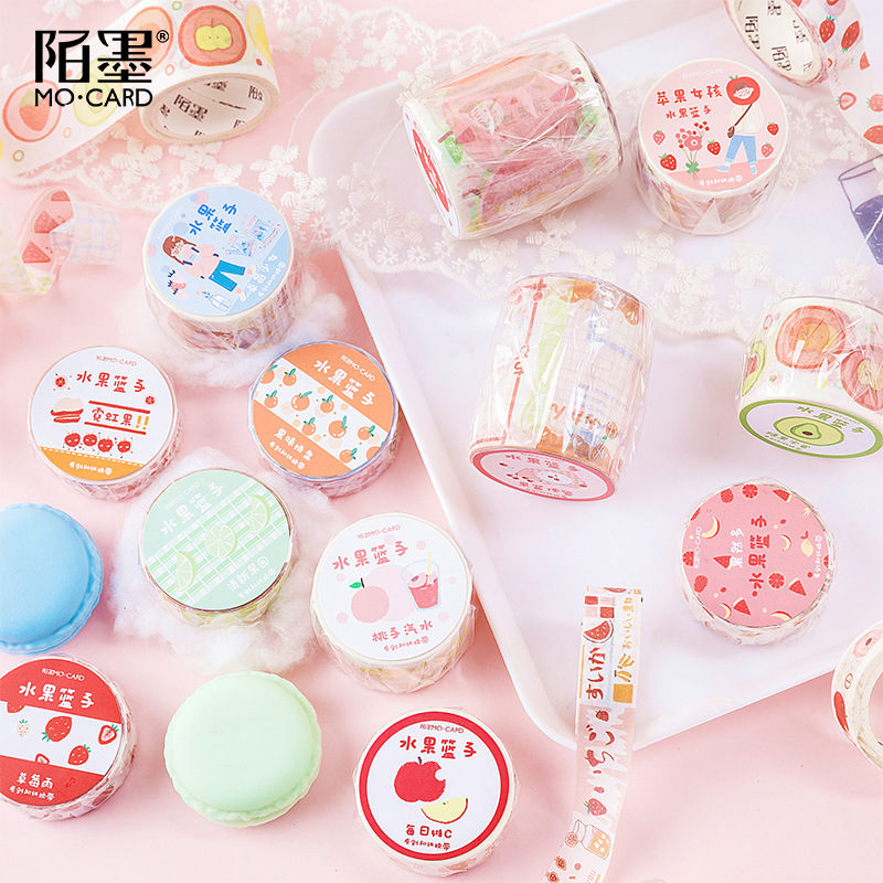 Kawaii Fruits Drinks Writable Masking Washi Tape DIY Decorative Adhesive Tape For Diary Scrapbooking School Supplies