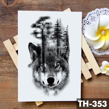 Tribal Wolf Moon Pine Tree Temporary Tattoo Sticker Fox Waterproof Tattoos Forest Body Art Arm Fake Tatoo Men Women 3