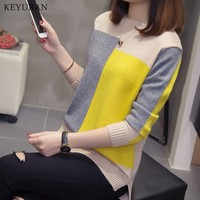 Plus Size XL 4XL 2019 New Multicolor Autumn Winter Women Sweater O Neck Knitted Jumper Top Loose Casual Warm Femme Sweater L3682