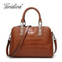 Teridiva Women Leather Handbags Bag Lady Crocodile Tote Female Crossbody Shoulder Bags Brand Women S Top