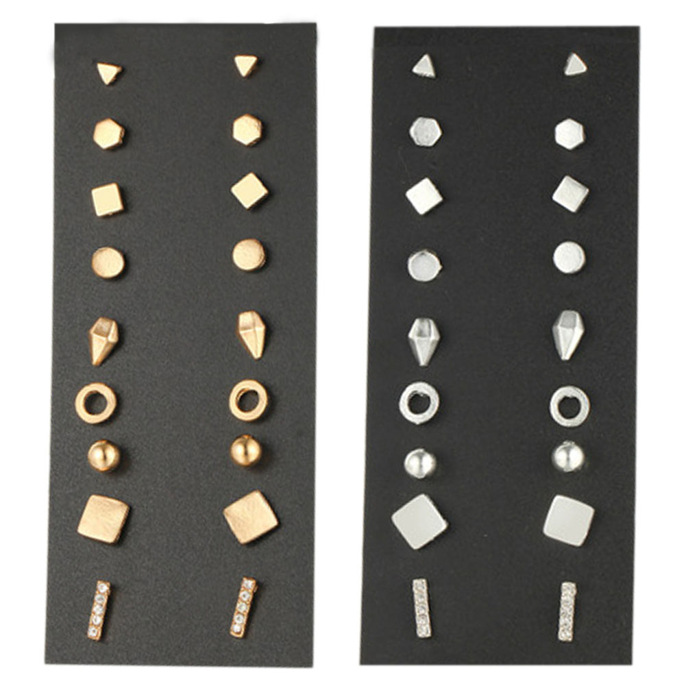 9 Pairs/Set Punk Gold Color Stud Earring For Women Men Summer Style Vintage Hollow Round Earrings Set Fashion Jewelry