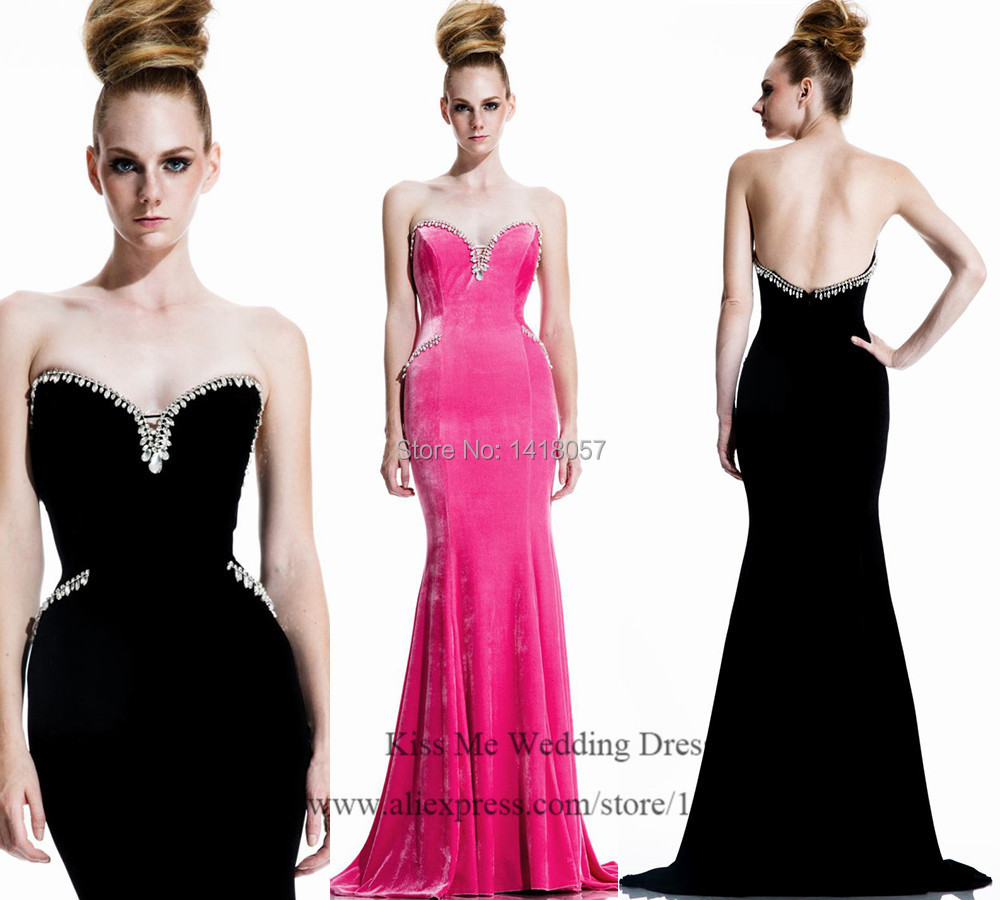 Elegant Long Black Evening Dress Crystals Mermaid Prom