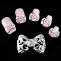 Manicure alloy jewelry DIY nail inlaid diamond patch gold and silver bow on hollow metal paste retro style Nail Sticker
