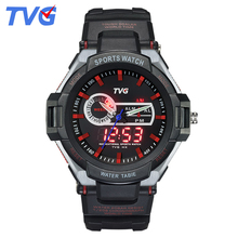 TVG Brand Dual Display watches analog-digital date week men sports wristwatch High Quality Student rubber strap waterproof watch