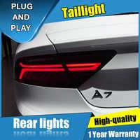 4 Uds estilo de coche para Audi A7 luces traseras de flujo LED 2012-2018 para A7 lámpara trasera LED + señal de giro + freno + luz LED de marcha atrás