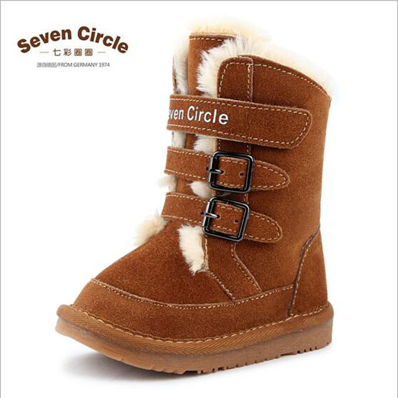 ФОТО 2016 Children's Genuine leather snow boots boys girls thick cotton-padded winter warm lace-up shoes 5-8 yards baby casual shoes