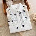 Весна 2017 Белый Блузка Цветок Вышивка Опрятный Стиль Милый Белая Рубашка Для Девочек Студенты Топы Свободные Длинным Рукавом T61201