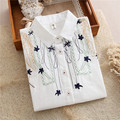 Spring 2017 White Blouse Flower Embroidery Preppy Style Cute White Shirt For Girls Students Tops Loose Long Sleeve T61201