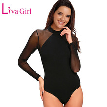 LIVA GIRL Black/Navy Sexy Sheer Plus Size Mesh Bodysuit Women Stand Neck Long Sleeve Bodysuits Transparent Skinny Body Tops XXL