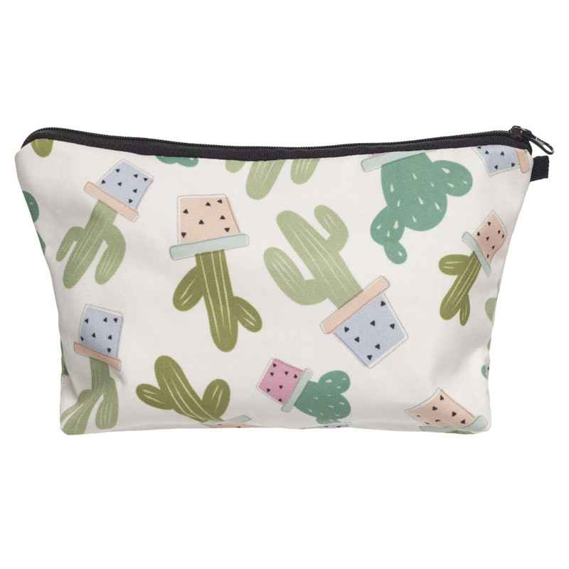 Fresh Cactus 3D Printing cosmetic bags women makeup bag New pencil case vanity neceser m ...