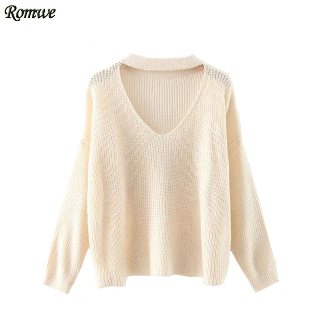 ROMWE Woman Choker Neck Drop Shoulder Sweaters Ladies Autumn Pullovers  Plain V Neck Long Sleeve Casual fad8b6afe