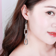 Punk Style Tassel Earrings Chain Long For Women Statement Gold Silver Color Big Link Drop Earring