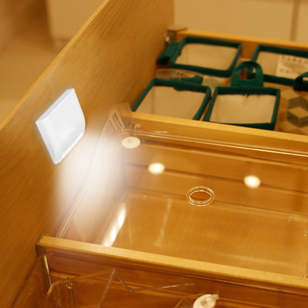 7 LED Smart Sensor Control Activated Wall Door Mounted Night Light Pure White Small LED Light For Cabinets Wardrobe Drawer