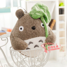 small cute totoro toy stuffed high quality totoro with leave doll gift about 25cm 442
