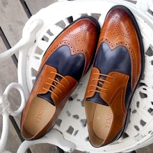 Leather oxford brogues office shoes