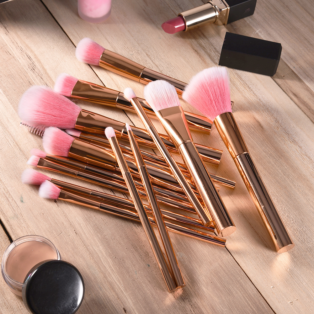 15Pcs Brand Rose Gold Makeup Brushes Set Powder Blush Foundation Eyeshadow Eyeliner Cosmetic Brush Beauty Make Up Brushes Tool
