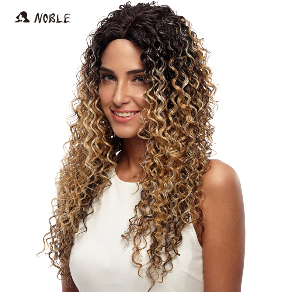 Noble Wigs For Black Women Deep Wave Lace Front Wigs Synthetic Hair 30 Inch Ombre Color Heat Resistant Cosplay Wig Free Shipping
