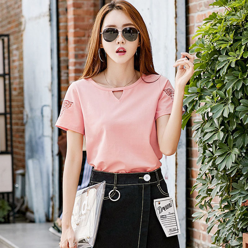 BOBOKATEER Plus Size T Shirt Women T-shirt Embroidery Tshirt Cotton Summer Tops For Women 2019 Tee Shirt Femme Funny T Shirts