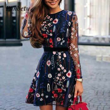 Fanbty 2019 Sexy Women Floral Embroidery Dress Sheer Mesh Summer Boho Mini A-line Dress Lady See-through Party Dresses Vestidos - DISCOUNT ITEM  40% OFF All Category