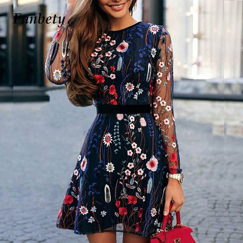 Fanbty 2019 sexy feminino floral bordado vestido de malha pura verão boho mini a line vestido senhora ver-através vestidos de festa