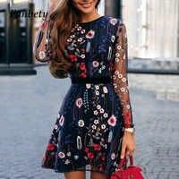 Fanbty 2019 Sexy femmes robe de broderie florale pure maille été Boho Mini robe a-ligne dame robe de soirée transparente Vestidos