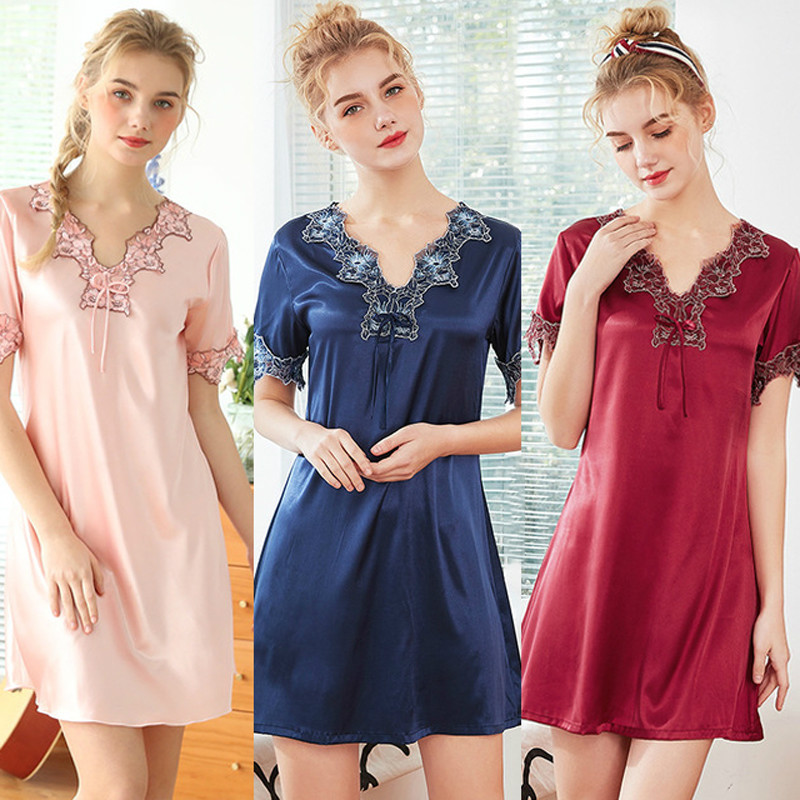 Roseheart Women Fashion Pink Blue Sexy Sleepwear Nightdress Faux Silk Lace Embroidery V Neck Nightwear Sleepshirts Nightgown XL