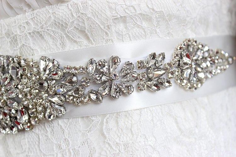 Rhinestone Belt Wedding Sashes For Bride Bridal Weddings Dresses Belts Luxurious Rhinestone Crystal Ribbon Sashes