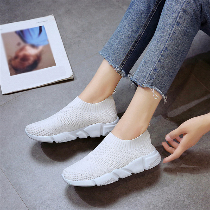 2018 New Outdoors adults trainers Running Shoes woman sock footwear sport athletic unisex breathable Mesh female Sneakers #2a (19)