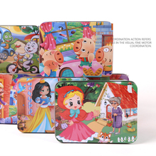 100 Slice Wooden Puzzle Cartoon 3D Wood Jigsaw Puzzle Toys for Children Gift Kids Early Educational Toys Gift (with Iron Box) цены