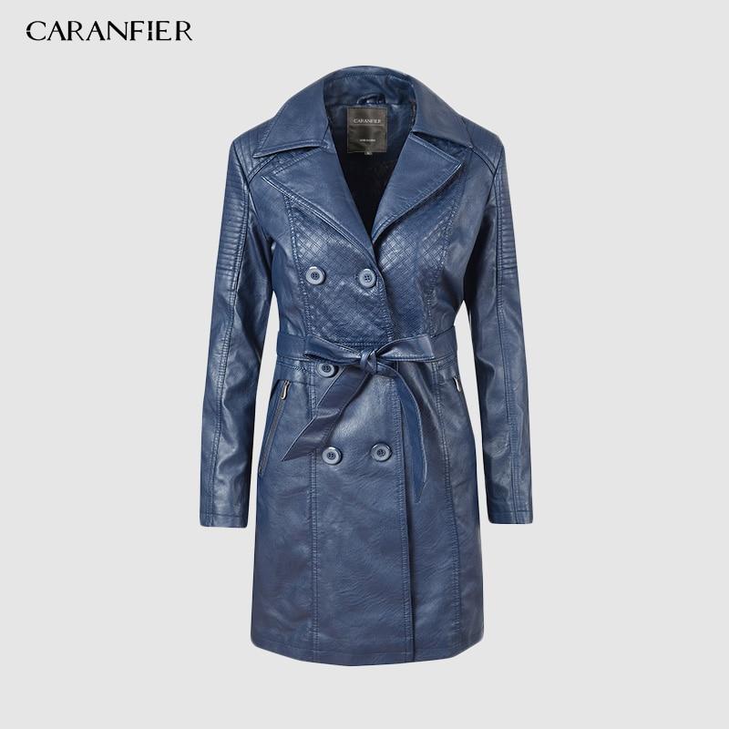 CARANFIER Women Pu   Leather   Trench Coat Overcoat Winter Long Sleeve Double-breasted Long Coat Ladies Thick Velvet Windbreaker